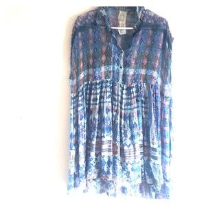 Free People Babydoll Voile Dress Blue SM